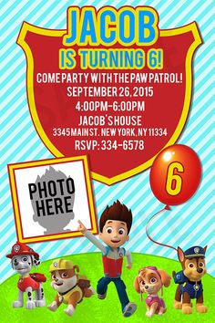 Paw Patrol Invitation - Personalized with your info & Photo Pick Red or Pink Version :::::::::::::::::::::::::::::::::::: THE PARTY BEAN ::::::::::::::::::::::::::::::::::::::: This listing is for a DIGITAL FILE that will be sent to your emailNo physical product will be sent to you4x6 or 5x7 JPEG or PDF FileAll my files are high resolution 300 dpi and will print clear and crisp!Print as many as you like!! At home or a local print shop (ex: walmart, staples)TURN AROUND TIME: 48 hours or…
