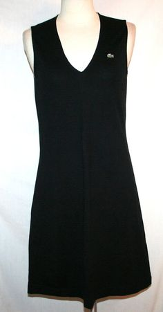 Lacoste Black V-Neck Sleeveless Pique Cotton Knit Sporty Athletic Dress Sz 40 #Lacoste #Casual
