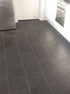 Grey Slate Effect Vinyl Floor Tiles  Simple Kitchen Upgrade.