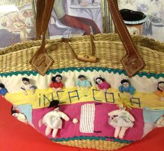 "Straw Bag  Ethnic Handmade "" Inca - Cola""  Characters Tribal  Leather Artisan  #Handmade #TotesShoppers"