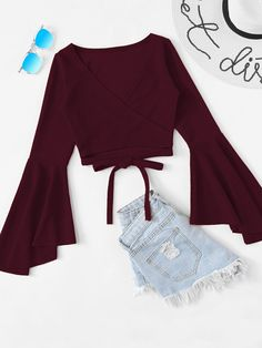 Casual Plain Regular Fit V Neck Long Sleeve Burgundy Regular Length Tie Hem Flounce Sleeve Top - May 18 2019 at Teen Fashion Outfits, Mode Outfits, Outfits For Teens, Girl Fashion, Summer Outfits, Girl Outfits, Womens Fashion, Fashion Wear, Fashion Moda