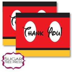 Printable Mickey Mouse Inspired Thank You Cards by SugarTreePress on Etsy