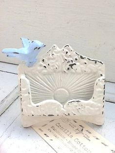 Business Card Holder, Shabby Creamy White, Small Bird, Office Supplies, Business Supplies, Shabby Chic, Iphone Holder, Spring Decor, Pink on Etsy, $24.50