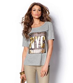 Camiseta mujer manga corta estampado metalizado Mujer 40 Venca