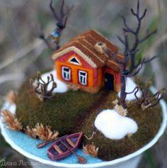 Best 12 Little felt house – Page 372602569169452672 Needle Felted Animals, Felt Animals, Funny Animals, Wet Felting, Needle Felting, Felt Crafts, Diy Crafts, Felt House, Felt Fairy