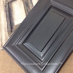 This cabinet door is painted with Shale Stone Paint Couture, then glazed with Zinc Glaze Couture