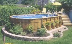 amazing wood pool- easy landscape idea for around the pool