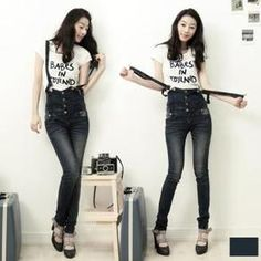 High-Waist Skinny Jeans with Detachable Suspenders - Pants  trendmill.com