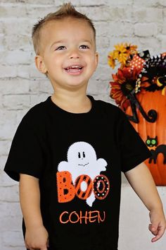 Personalized Halloween Boo Ghost Applique by boutiquesewunique, $23.00