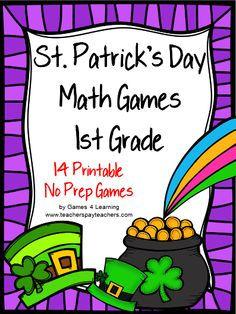 NO PREP games from St. Patrick's Day Math Games First Grade by Games 4 Learning - contains 14 printable games that review a variety of first grade skills.$