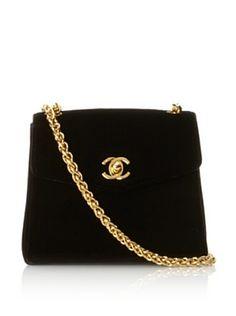 CHANEL Women's Velvet Evening Bag #fashion #Chanel #velvet #evening #purse #bag #gold #chain #CC #black