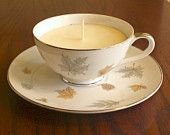 Autumn Leaves Fine China Teacup candle set - Customized Soy Candle Gift