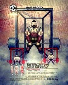 leg exercise: barbell rack pulls khal drogo Men's Super Hero Shirts, Women's Super Hero Shirts, Leggings, Gadgets