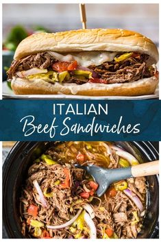 Slow Cooker Italian Beef Sandwiches (Leftover Roast Recipe Idea) These slow cooker Italian Beef Sandwiches are the best way to up your leftover Rib Roast. Easy to make in the slow cooker, these sandwiches are the perfect Planned-Overs. SO MUCH FLAVOR! Italian Roast Beef, Italian Beef Recipes, Shredded Beef Recipes, Slow Cooker Italian Beef, Italian Beef Sandwiches, Roast Beef Sandwiches, Roast Beef Recipes, Slow Cooker Beef, Shredded Beef Sandwiches