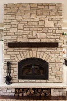 Stone fire place wood storage mantels ideas for 2019 Stone Fireplace Mantel, Stacked Stone Fireplaces, Rustic Fireplaces, Home Fireplace, Living Room With Fireplace, Fireplace Surrounds, Fireplace Design, Inglenook Fireplace, Small Entryways