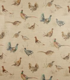 Perfect PVC for a country home!  http://www.justfabrics.co.uk/curtain-fabric-upholstery/linen-pvc-game-bird-fabric/