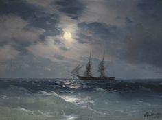 songesoleil:  Ivan Konstantinovich Aivazovsky (Russian, 1817 - 1900), The Brig Mercury in Moonlight, 1874, oil on panel, 15.5 x 21.5 cm.