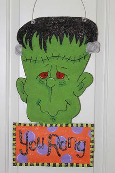 Frankenstein Burlap Door Hanger