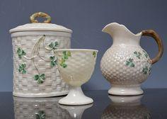 Belleek basket weave moulded preserve pot
