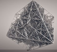 Hypercube, by Felix Warmuth Fractal Design, Fractal Geometry, Sacred Geometry, Black And White Illusions, The Library Of Babel, Generative Art, Geometric Art, Textures Patterns, Science Nature