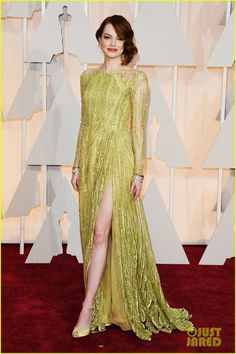 Emma Stone arrives at the 2015 Academy Awards held at the Dolby Theatre on Sunday (February 22) in Hollywood.