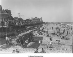 Rehoboth Beach and board walk, 1931, RG 1380.006 Board of Agriculture Glass Negative Collection