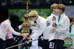 Rapmonster accepting the trophy at BTS :: Idol Star Athletics Championships for Chuseok in 2016. MBC Official homepage of Idol Star Athletics Championships for Chuseok in 2016