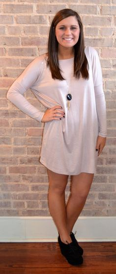 Comfortable Love Tunic- Taupe. Loving this tunic style worn as a dress with booties! -Studio 3:19