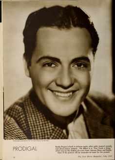 """Buddy Rogers, from a vintage Hollywood magazine, """"The New Movie Magazine (Jul-Dec 1933)."""""""
