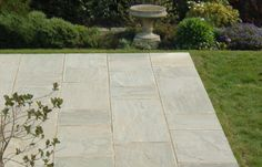 Grey Indian stone Paving by Bingley Stone. A light grey paving in natural stone that is extremely durable and competitively priced. Limestone Paving, Paving Slabs, Paving Stones, Grey Paving, London Garden, Grey Stone, Natural Stones, Indian, Landscapes