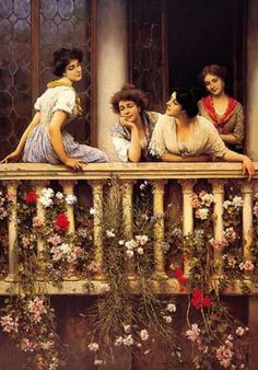 """""""Balcony"""" by Eugene de Blaas, also known as Eugene von Blaas or Eugenio de Blaas July 1843 – 10 February was an Italian painter in the school known as Academic Classicism. He was born at Albano, near Rome, to Austrian parents. Carl Spitzweg, Molduras Vintage, Illustration Art, Illustrations, Italian Painters, Italian Art, Fine Art, Beautiful Paintings, Monuments"""