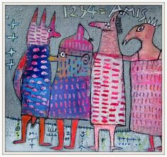 layered, scratched through acrylic with markers, pastels, pens, pencil, charcol by Elke Trittel