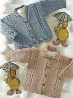 Baby Knitting Patterns Coat Waistcoat, V Neck Cardigan and Cardigan Bebe, V Neck Cardigan, Baby Cardigan, Diy Crafts Knitting, Knitting For Kids, Free Knitting, Double Knitting Patterns, Knitting Stitches, Coat Patterns