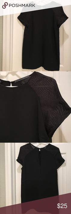 New without Tag- Tunic Blouse 👚 Size 5. New without Tag. Never been worn. Black tunic from Zara. Casual to dressy. 💖 Zara Tops Blouses