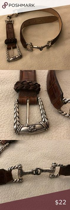 Brighton Brown and Silver Women's Leather Belt Very Unique. Gently used Brighton Accessories Belts Online Thrift Store, Brighton, Thrifting, Women Accessories, Belt, Wallet, Brown, Bracelets, Silver