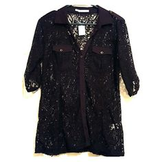 3/4 sleeve Lace Button down blouse NWT. Gorgeous lace blouse. Size small but fits like a medium. Maurices Tops Button Down Shirts