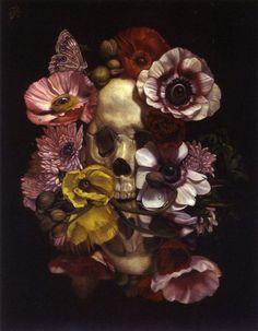 "El nido de urraca: ""Vanitas still life with flowers and insects"" - Toru Kamei"