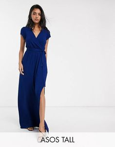 Find the best selection of ASOS DESIGN Tall tie waist wrap front maxi dress in navy. Shop today with free delivery and returns (Ts&Cs apply) with ASOS! Midi Shirt Dress, Lace Midi Dress, Maxi Wrap Dress, Tulle Dress, Asos, Ted Baker, Clothing For Tall Women, Maxi Styles, Casual Dresses