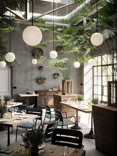 restaurant decor Bright Modeco Pendant Light in Off-white - Bright Modeco Pendant Light in Off-white by Nordic Tales Fy - Coffee Shop Design, Cafe Design, House Design, Door Design, Interior Design Coffee Shop, Design Design, Modern Interior Design, Interior And Exterior, Contemporary Interior