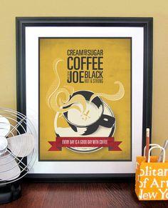Kitchen Art Typography Poster Print With Coffee Cup, Kitchen Wall Art, Kitchen Decor, Coffee Art, Retro Modern Design, 11x14. $12.00, via Etsy.