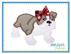 Bulldog Girl Applique Design
