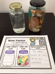 Earth Day science observation activity. Students fill a jar of water with trash to understand the impact that littering has on the environment and our natural resources.
