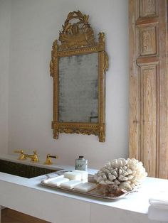 Marble Floating Vanity with Gold Ornate Mirror - French - Bathroom Mold In Bathroom, Bathroom Red, Bathroom Interior, French Bathroom, Mirror Bathroom, Ocean Bathroom, Lowes Bathroom, Funny Bathroom, Bathroom Wallpaper