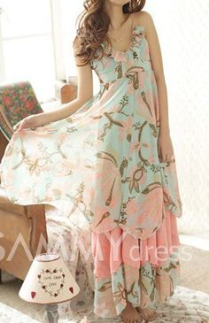 $15.46 Bohemian Spaghetti Strap Floral Print Multi-Layered Chiffon Dress For Women