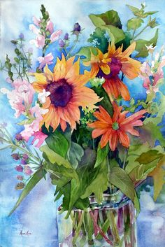 This painting sings happy birthday with its vibrant colours and lush greens. The backgounf is perfect. Birthday Bouquet by Marni Maree