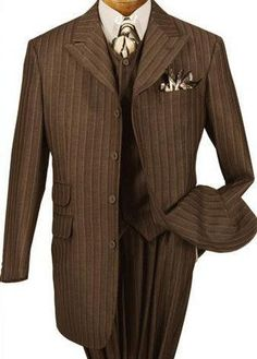 Brown Pinstrip Suit For Man