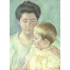 Artwork by Mary Cassatt, MOTHER LOOKING DOWN AT HER BLOND BABY BOY, 1898 Made of pastel on paper