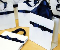 Stylish gift paper bag with Navy Blue satin ribbon handles and male bow - Elegant gifts and favors f Elegant Birthday Party, Birthday Party Favors, Wedding Welcome Bags, Diy Wedding Favors, Baby Shower Gift Bags, Blue Satin, Paper Gifts, Baby Shower Decorations, Holiday Gifts