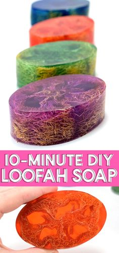 Learn how to make homemade soap, adding loofah to the mix for the perfect exfoliant. Perfect for even a first-time soap maker, these loofah soap bars are super simple and make great gifts! Homemade Shampoo, Homemade Conditioner, Homemade Facials, Hair Conditioner, Essential Oils Soap, Soap Making Supplies, Soap Maker, Homemade Soap Recipes, Homemade Soap Bars