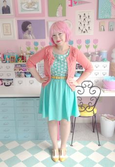 Aqua, pink, and pale yellow: the most heavenly mix on Kate Gabrielle. #stylegallery // Find her dress here: http://www.modcloth.com/shop/dresses/window-shopping-spree-dress